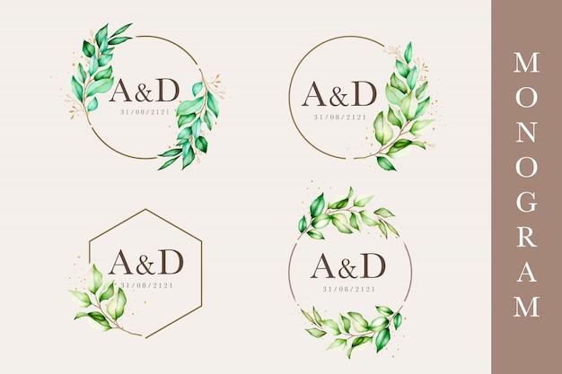 Modèle de monogramme de mariage floral