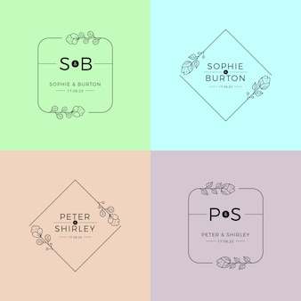 Modèle de monogrammes de mariage en couleurs pastel