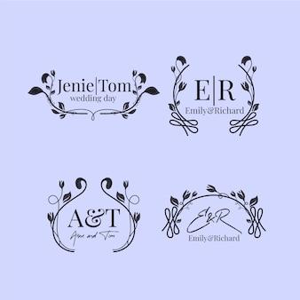 Modèle de monogrammes de mariage floral