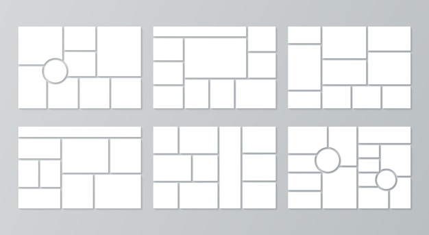 Modèle de moodboard. grille de collage de photos. vecteur. conception de planche d'humeur avec cercle. définir des cadres en mosaïque. conception horizontale de la maquette de montage. mise en page de l'album photo. illustration simple minimaliste