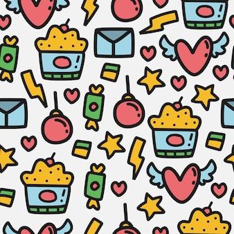 Modèle de motif de doodle de dessin animé de valentin
