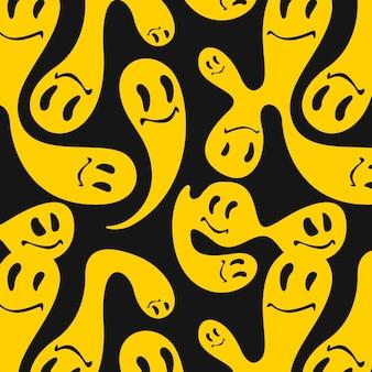 Modèle de motif émoticône fusionné et déformé jaune