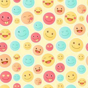 Modèle de motif émoticône heureux