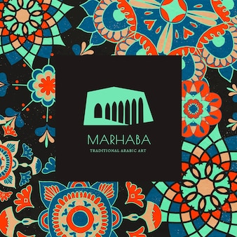 Modèle de motif floral ethnique avec un logo minimal