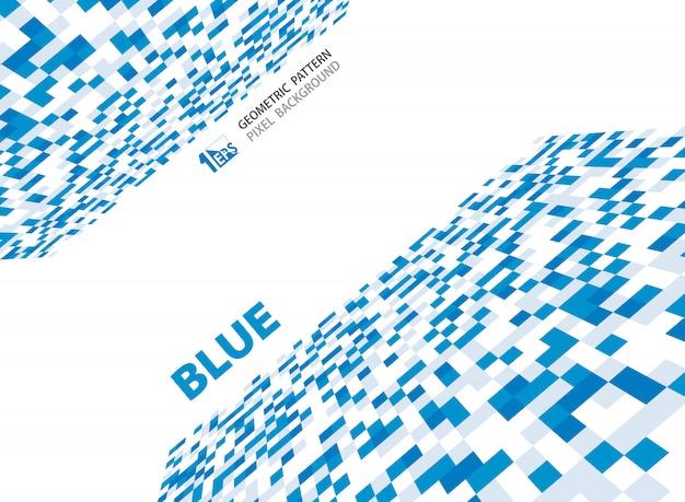 Modèle de motif géométrique abstrait pixel bleu