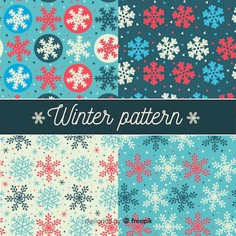 Modèle de motif d'hiver de flocons de neige