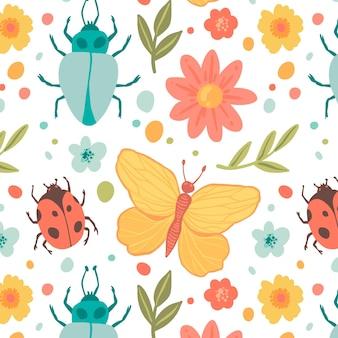 Modèle de motif insectes et fleurs