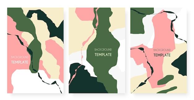 Modèle de motif minimaliste abstrait contemporain avec jeu de formes de fissures à rayures