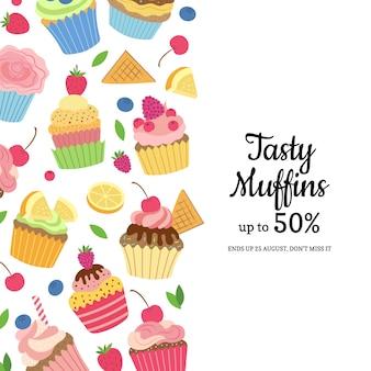 Modèle de muffins ou cupcakes de dessin animé mignon avec place pour l'illustration de texte