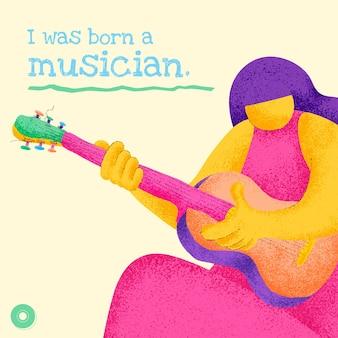 Modèle de musicien modifiable vector design plat avec publication sur les réseaux sociaux de citation musicale inspirante