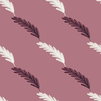 Modèle de nature sans couture de style minimaliste avec imprimé organique blanc et violet de blé. fond violet pastel. parfait pour la conception de tissus, l'impression textile, l'emballage, la couverture. illustration vectorielle.