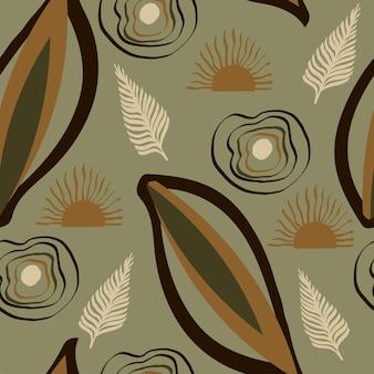 Modèle de nature tendance sans couture résumé laisse des formes dessin abstrait fond vert foncé