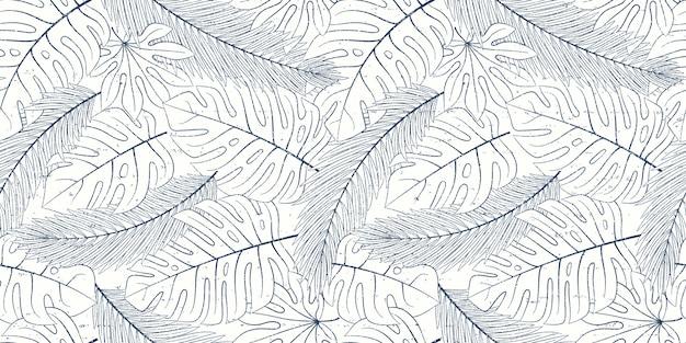 Modèle naturel tropical sans soudure de feuilles exotiques.