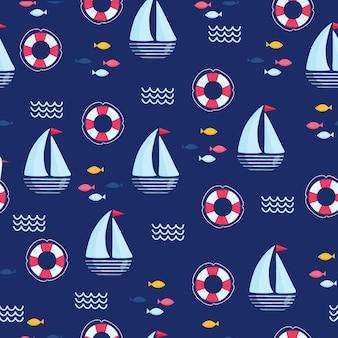 Modèle nautique vectorielle continue avec navire. illustration de dessin animé lumineux pour la conception, le tissu et le papier peint de cartes de voeux pour enfants.