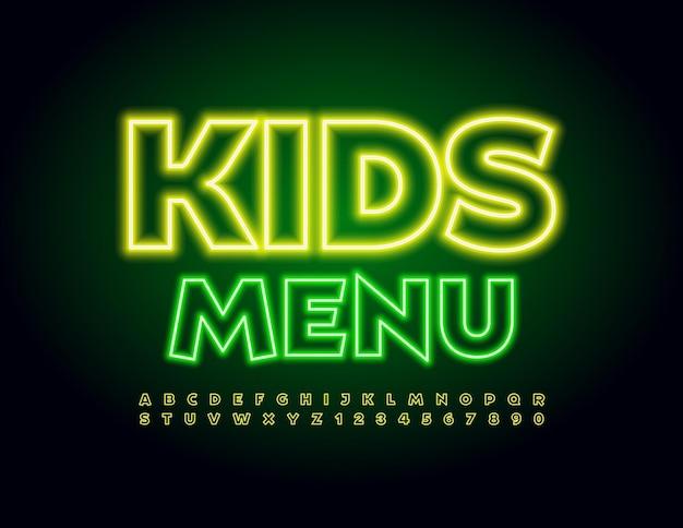 Modèle de néon de vecteur kids menu bright yellow font lettres et chiffres de l'alphabet électrique ludique