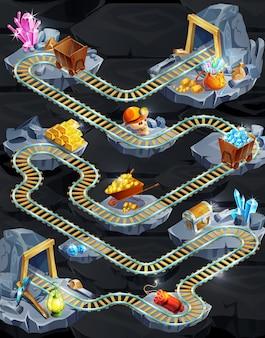 Modèle de niveau de jeu minier isométrique