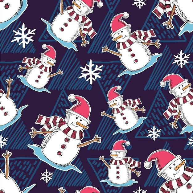 Modèle de noël avec dessin animé bonhomme de neige
