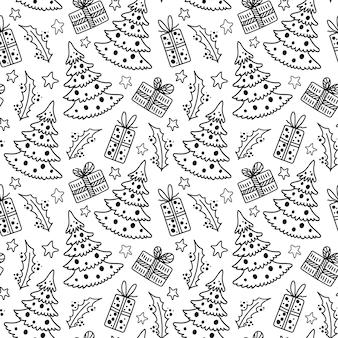 Modèle de noël et du nouvel an dans le style doodle