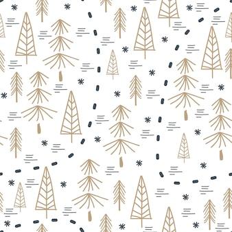 Modèle de noël hiver unique avec arbre dessiné à la main