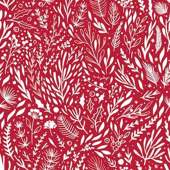 Modèle de noël rouge modèle sans couture de vecteur avec des éléments floraux blancs sur fond rouge