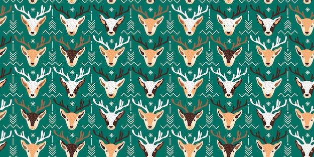 Modèle de noël sans couture avec illustration vectorielle de cerf