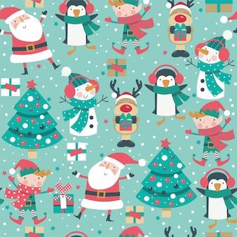 Modèle de noël sans couture avec santa, cerf, pingouin, elfe et arbre.