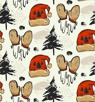 Modèle de noël sans soudure abstrait dessiné à la main avec des arbres de noël, des vêtements de noël bonnet de noel rouge et des mitaines rouges.