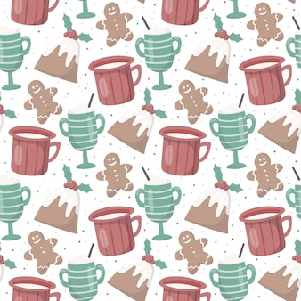 Modèle de noël sans soudure de vecteur. ambiance chaleureuse et cosy. tasses et mugs avec des boissons chaudes comme du thé, du café ou du cacao. délicieux muffins au houx et pain d'épice. décoration pour fond ou papier d'emballage.