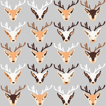 Modèle de noël avec des têtes de rennes sur illustration vectorielle fond gris