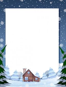 Modèle de note de cabine d'hiver