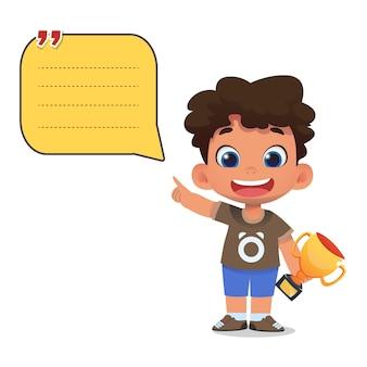Modèle de note de papier avec des personnages d'enfants tenant une balle