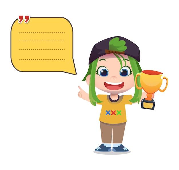 Modèle de note papier avec des personnages enfants tenant le trophée