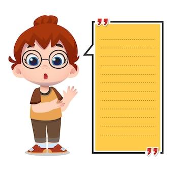 Modèle de note de papier avec des personnages mignons pour enfants