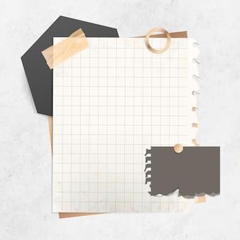 Modèle de note en papier quadrillé