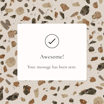 Modèle de notification, publication facebook esthétique, conception de terrazzo, image vectorielle