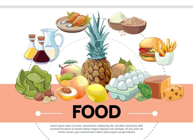 Modèle de nourriture de dessin animé
