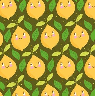 Modèle de nourriture drôle dessin animé heureux citron mignon et feuilles illustration vectorielle