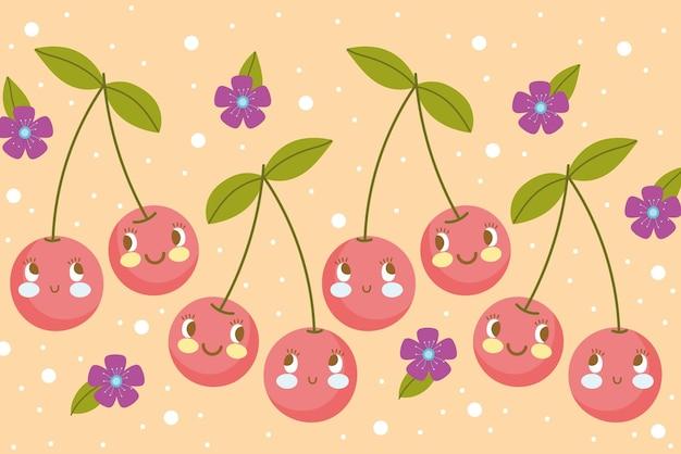 Modèle de nourriture drôle heureux dessin animé fruits cerises et flwoers vector illustration