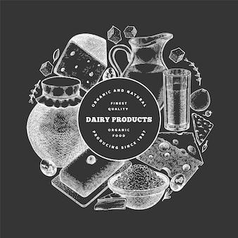 Modèle de nourriture de ferme. illustration de produits laitiers dessinés à la main sur tableau noir. bannière de différents produits laitiers et œufs de style gravé. fond de nourriture rétro.