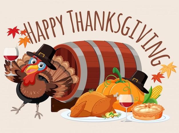 Modèle de nourriture de joyeux thanksgiving
