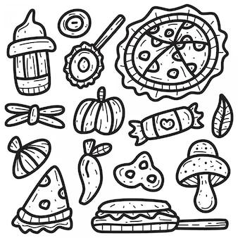 Modèle de nourriture kawaii doodle
