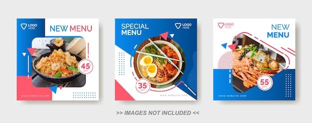 Modèle de nourriture de médias sociaux, modèle de publication de médias sociaux de restaurant