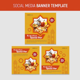 Modèle de nourriture pour les médias sociaux du ramadan