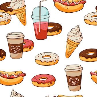 Modèle de nourriture sans couture sur fond blanc