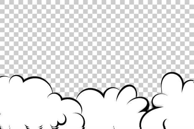 Modèle de nuage de bouffée de dessin animé de bande dessinée sur fond transparent pour le texte