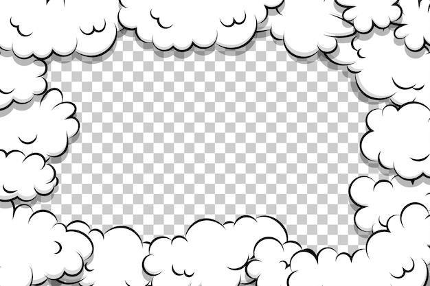 Modèle de nuage de bouffée de dessin animé de bande dessinée sur transparent