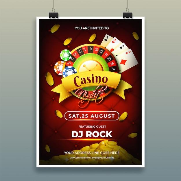 Modèle de nuit de casino ou conception de flyer avec jetons, pièces de monnaie, jouer