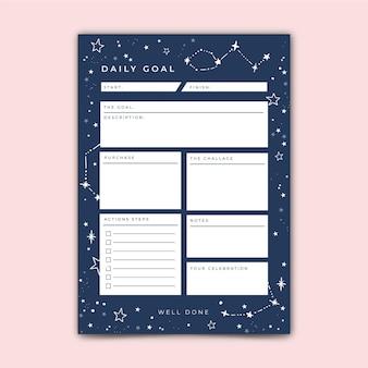 Modèle d'objectifs quotidiens avec des étoiles