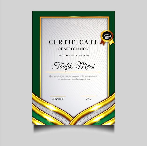 Modèle d'obtention de certificat de diplôme vert de luxe
