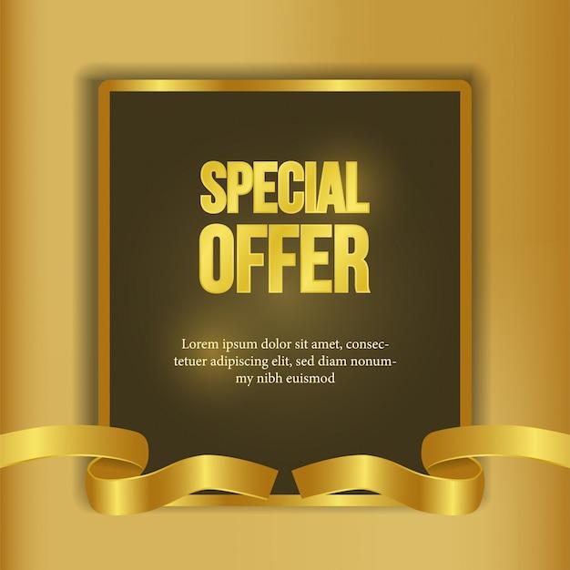 Modèle d'offre spéciale avec bannière de ruban d'or